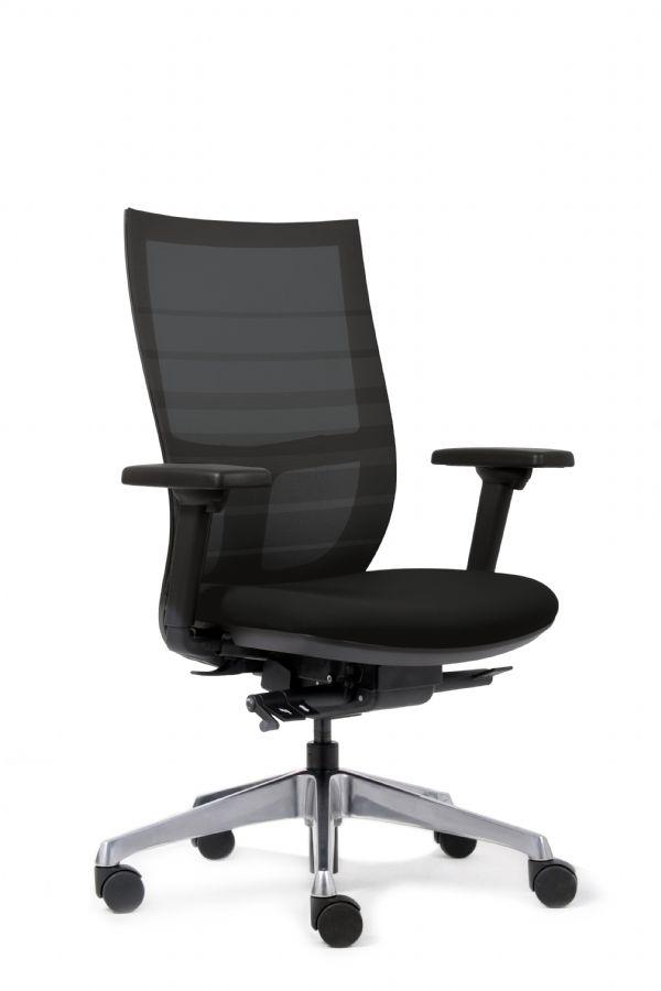 Bureaustoel Sanne de luxe met netweave rugbespanning zwart (1)