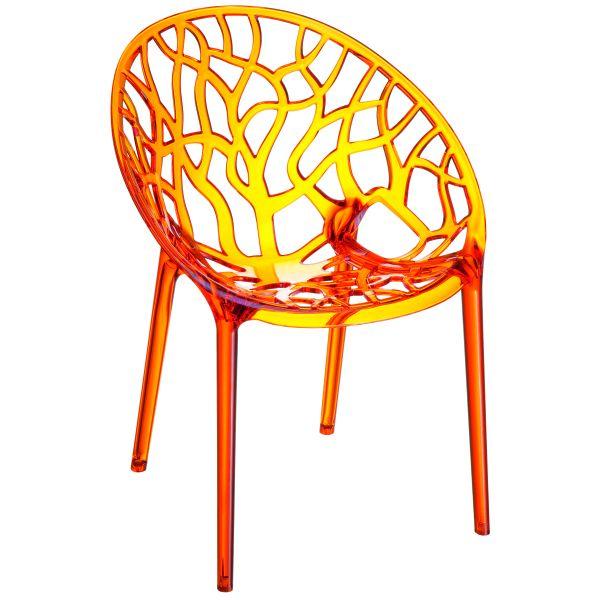 Designstoel Crystal oranje/transparant 1