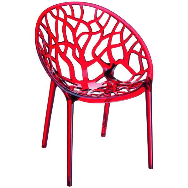 Designstoel Crystal rood/transparant 2