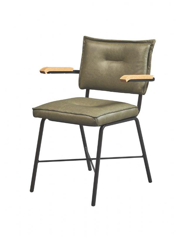Horeca stoel 10011 met bakeliet armleggers en zitting en rug in leder (1)