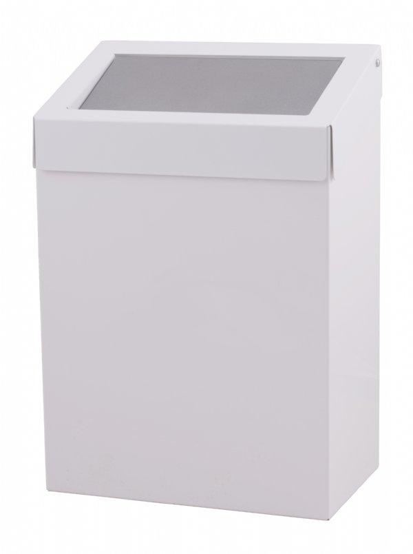 Afvalbak 20 liter wit gepoedercoated DutchBins met push klep voor horeca of sanitaire ruimten (1)