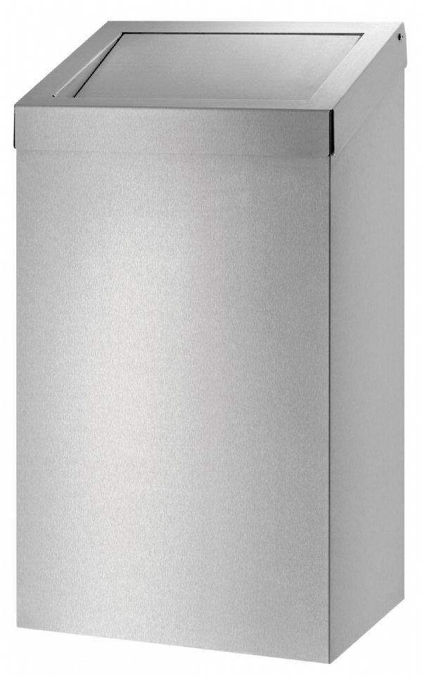 50 liter Afvalbak RVS Dutch Bins met push klep voor keuken of sanitair gebouw (1)