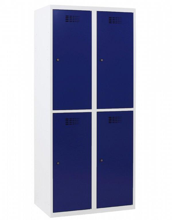 Garderobekast 4 afdelingen 2 koloms en 4 deuren 180x80x50cm voor veilig opbergen persoonlijke spullen en kleding (1)