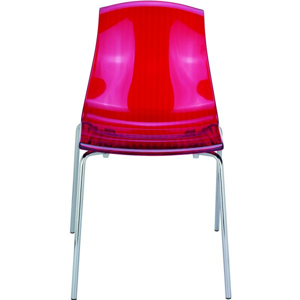 Designstoel Allegra rood/transparant 1