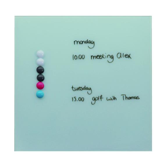 Desq magnetisch glasbord wit, 35x35 cm 4250.01 voor op te schrijven en om briefjes aan te hangen (1)