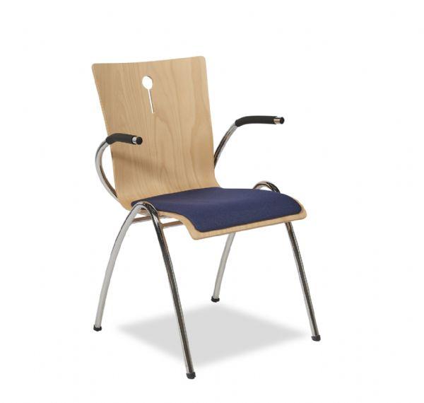 Kerkstoel of projectstoel Style 4463 met armleggers met stoffen zitting (1)
