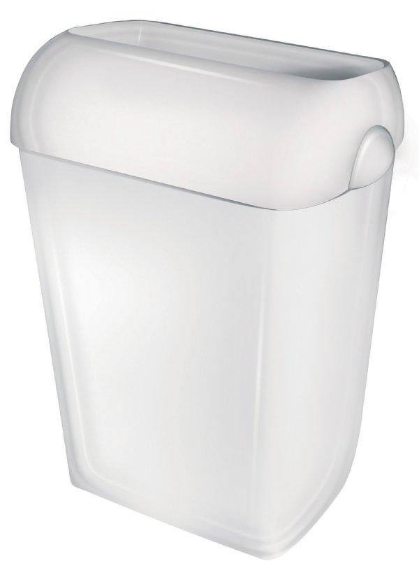 Goedkope kunststof afvalbak 43 liter kunststof wit half open model PlastiQline PQA43 (1)