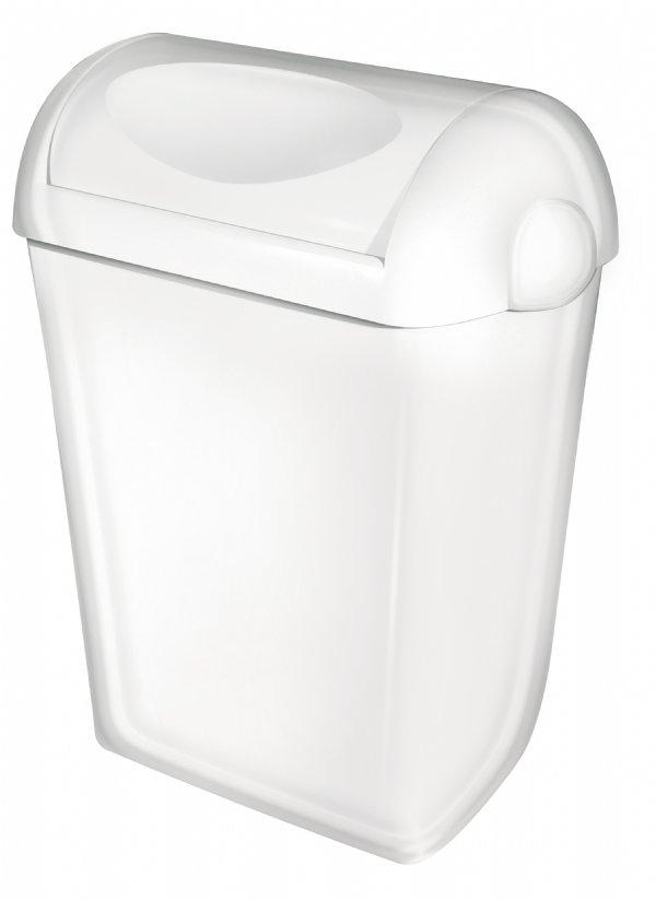 Mooie afvalbak kunststof wit 43 liter met swing deksel PlastiQline PQSA43 (1)