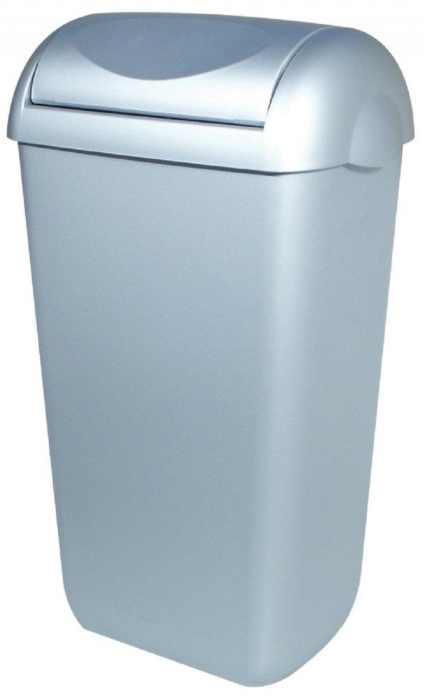 Kunststof afvalbak met RVS look 43 liter met swing deksel PlastiQline PQSA43M (1)