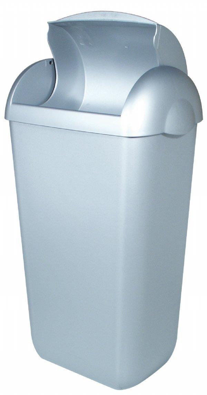Kunststof  hygiëne afbak RVS look 23 liter PlastiQline PQH23M voor sanitaire gebouwen of toilet groepen (1)