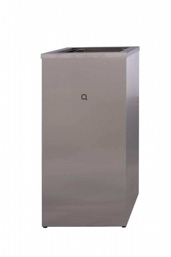 Open afvalbak RVS 30 liter Qbic line QWBO30SSL (1)