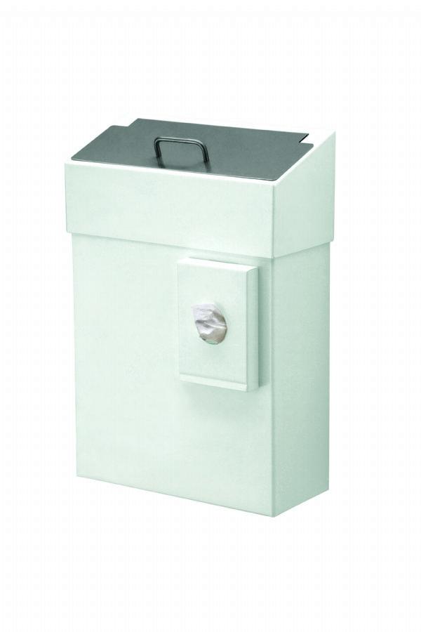 Grote hygiënebak van 10 liter wit met zakjes houder MediQo-line MQHB10P voor alle sanitaire plaatsen (1)