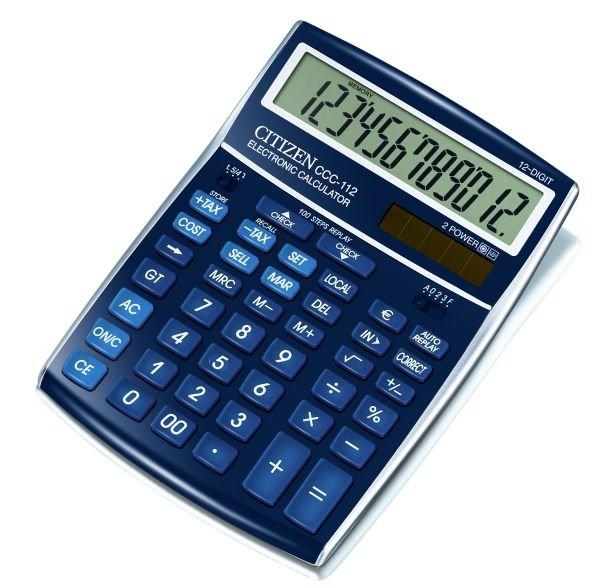 Citizen bureau rekenmachine cost manager, blauw CCC112BL (1)