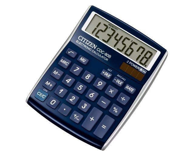 Citizen bureau rekenmachine allround, blauw CDC80BL (1)