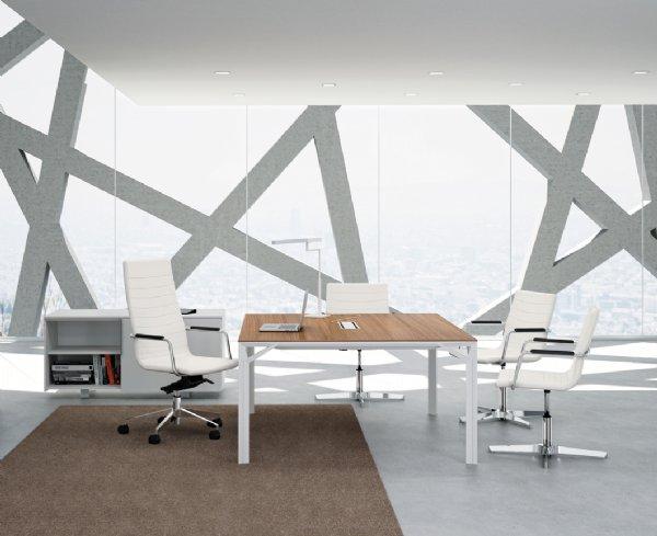 Meeting tafel Officity X8 140x140cm met kabelklep voor directie of manager kantoor (1)