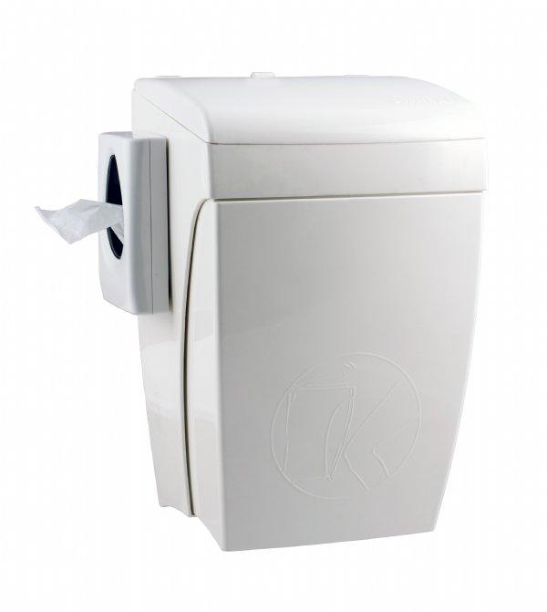 Hygiënebak 8 liter kunststof met zakjeshouder en kniebediening PlastiQline PQHBS voor sanitaire omgeving (1)