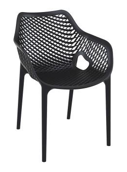 Siesta Air XL stoel zwart met armleggers voor elke terras voor binnen en buiten gebruik (1)