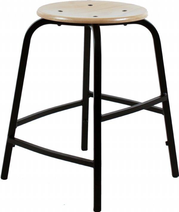 Hoge taboeretkruk of werkkruk TAH55 met beuken houten zitvlak | sterke en goede kwaliteit (1)