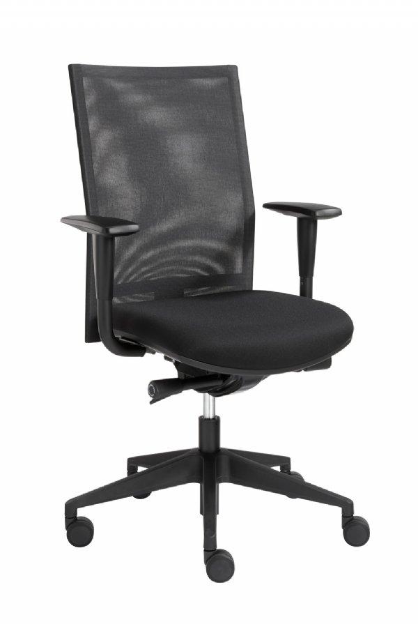 Bureaustoel Sitlife model Venus met netweave rug, kleur zwart uit voorraad leverbaar (1)